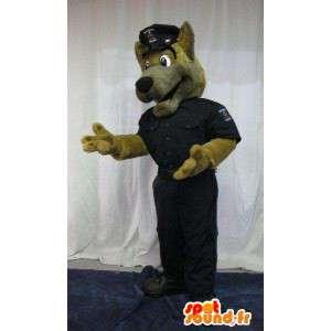 Mascotte del cane vestito come polizia poliziotto costume