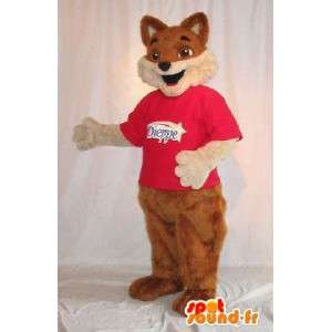 茶色のキツネの毛皮の衣装を表すマスコット
