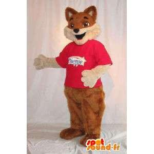 Mascotte représentant un renard brun, déguisement fourrure