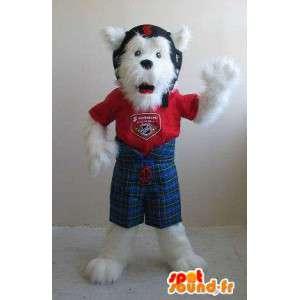 Foksterier maskotka hełmie, pies kostium
