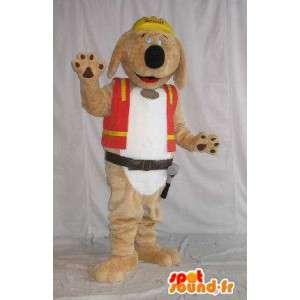 Pluche hond mascotte, bouwvakker kostuum