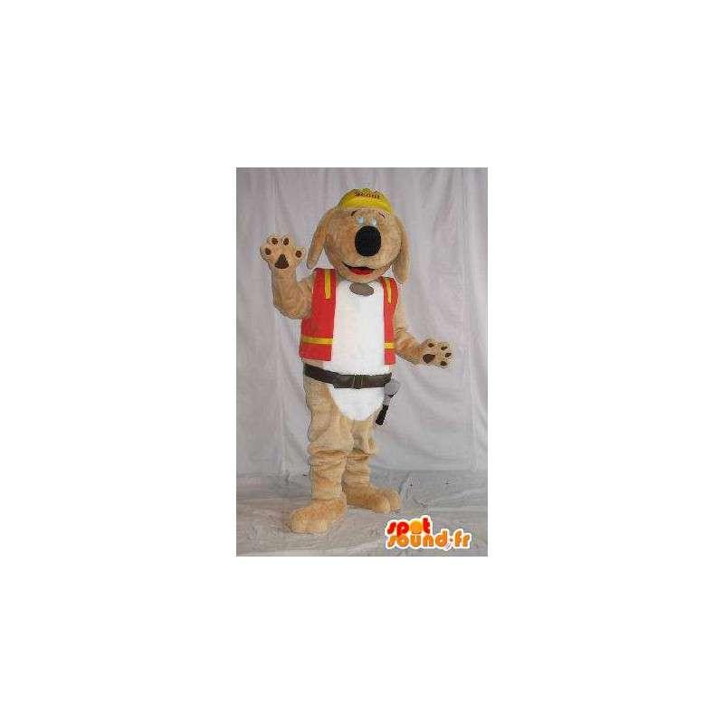 Mascotte de chien en peluche, déguisement d'ouvrier de chantier - MASFR001821 - Mascottes de chien
