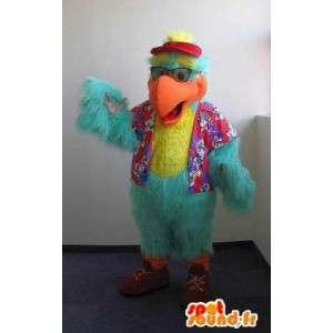 Mascot toeristische papegaai, vogel kostuum