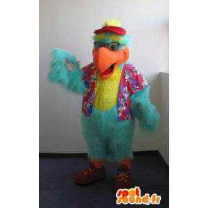 Mascotte de perroquet touriste, déguisement d'oiseau
