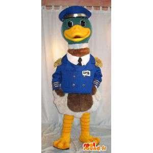 Mascotte de canard capitaine de bateau, déguisement en uniforme