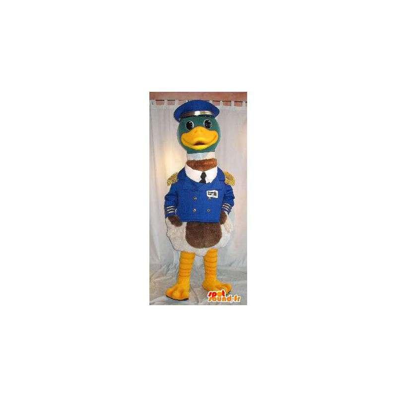 Mascot barca capitano anatra sotto mentite spoglie uniforme - MASFR001829 - Mascotte di anatre