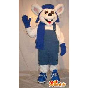 La mascota del ratón en traje de invierno, traje de ratón