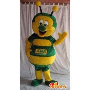 Maskotka żółty i zielony biedronka, owad przebranie