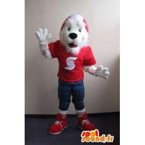 Mascot aangesloten fox terrier, hond kostuum