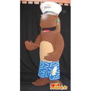 Mascotte de dauphin en habit marin, déguisement de dauphin