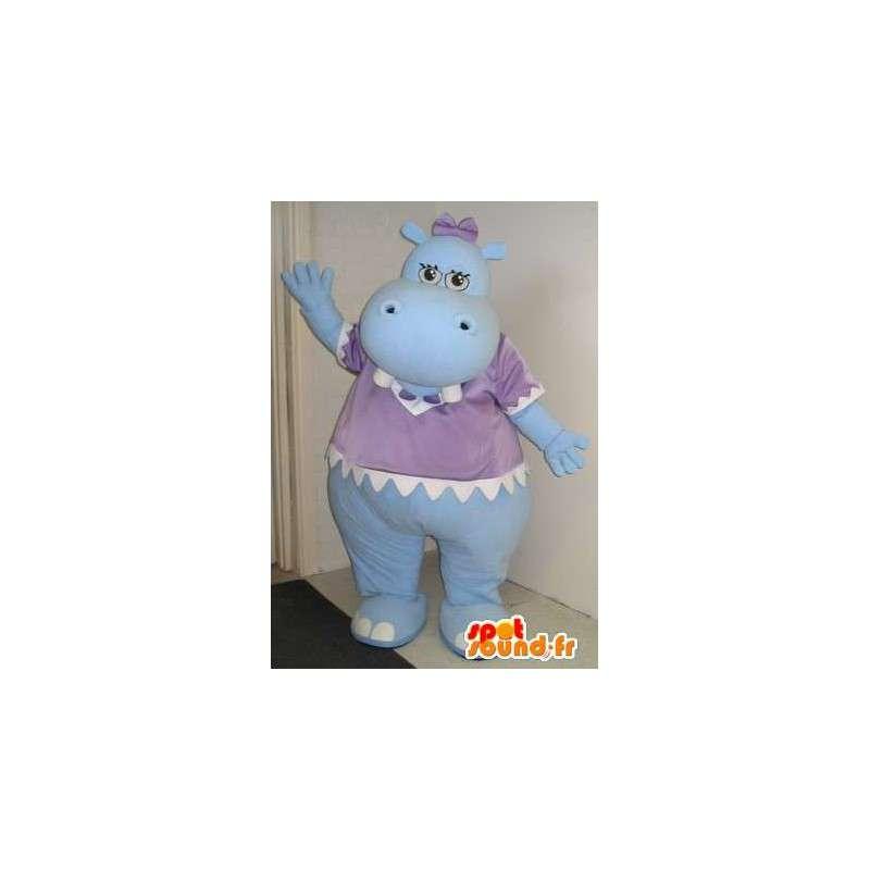 Vauva virtahepo maskotti, vauva valepuvussa.  - MASFR001837 - Hippo Maskotteja
