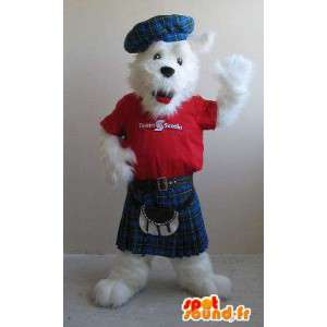 Fox terrier mascotte in kilts, Schots kostuum