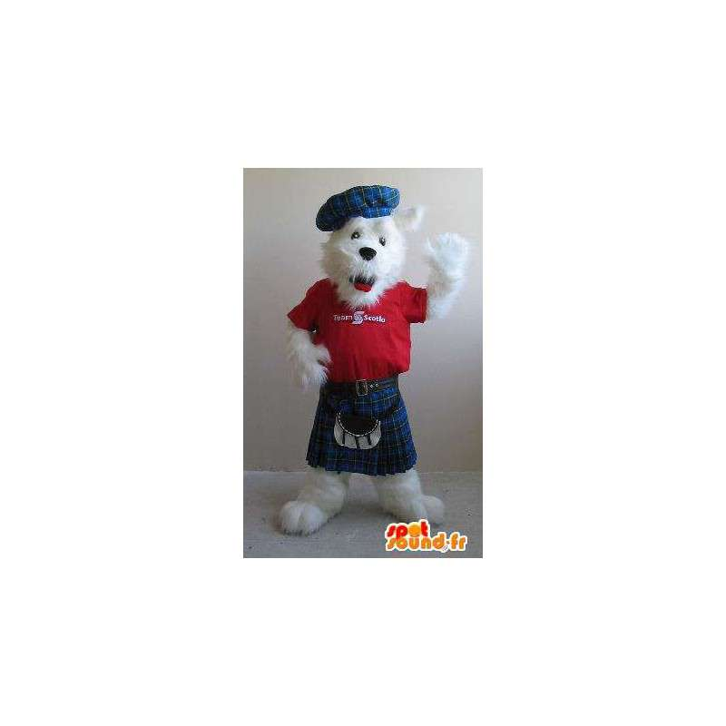 Fox terrier maskot i kilt, skotsk drakt - MASFR001841 - Fox Maskoter