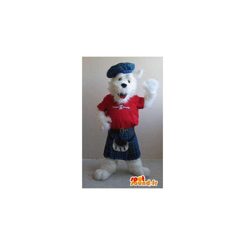 Mascot fox terrier en una falda escocesa, traje escocés - MASFR001841 - Mascotas Fox