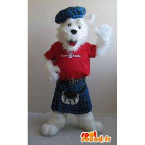 Fox terrier mascotte in kilts, Schots kostuum - MASFR001841 - Fox Mascottes