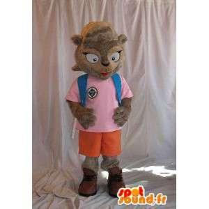 Maskot představující veverka školačka kostým škola