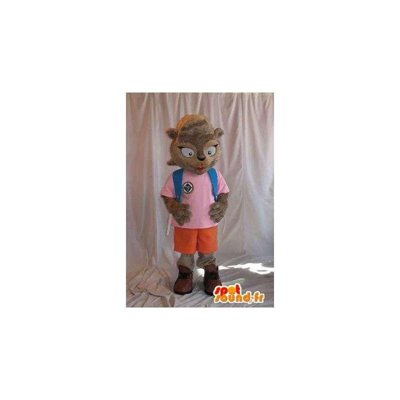 Mascotte représentant un écureuil écolière, déguisement-École - MASFR001842 - Mascottes Ecureuil