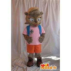Eichhörnchen-Maskottchen die eine Schulmädchenkostüm-Schule - MASFR001842 - Maskottchen Eichhörnchen