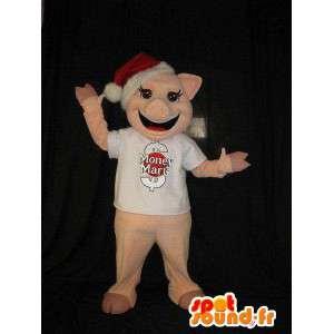 Mascotte de cochon avec bonnet de Noel, déguisement de cochon
