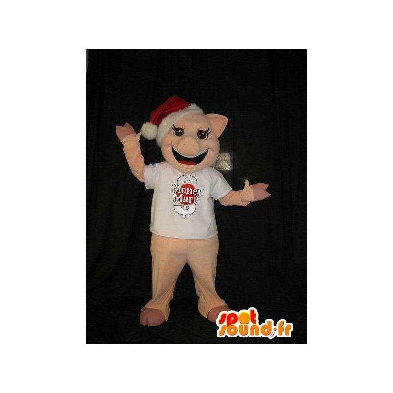 Sika maskotti kanssa tonttulakki, sika puku - MASFR001847 - joulun Maskotteja