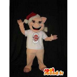 Gris maskot med julen lue, gris drakt - MASFR001847 - jule~~POS TRUNC