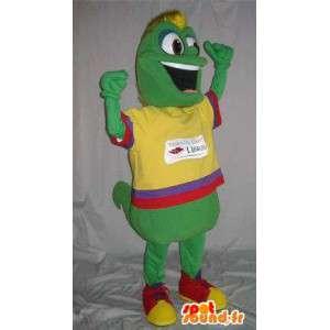 Mascotte ver de terre en tenue colorée, déguisement multicolore