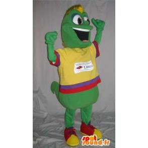Mascotte ver de terre en tenue colorée, déguisement multicolore - MASFR001848 - Mascottes Insecte