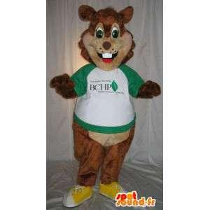 Mascotte de rongeur brun, déguisement d'écureuil