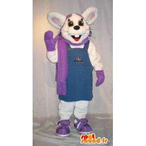 Mascot wat neerkomt op een winter konijn kostuum