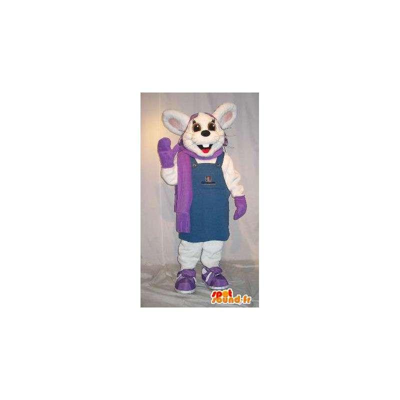 Mascot wat neerkomt op een winter konijn kostuum - MASFR001852 - Mascot konijnen