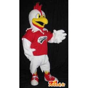 Una mascota gallo representante del deportista, disfraz gallo