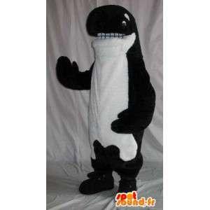 Mascotte représentant un orque en peluche, déguisement de cétacé
