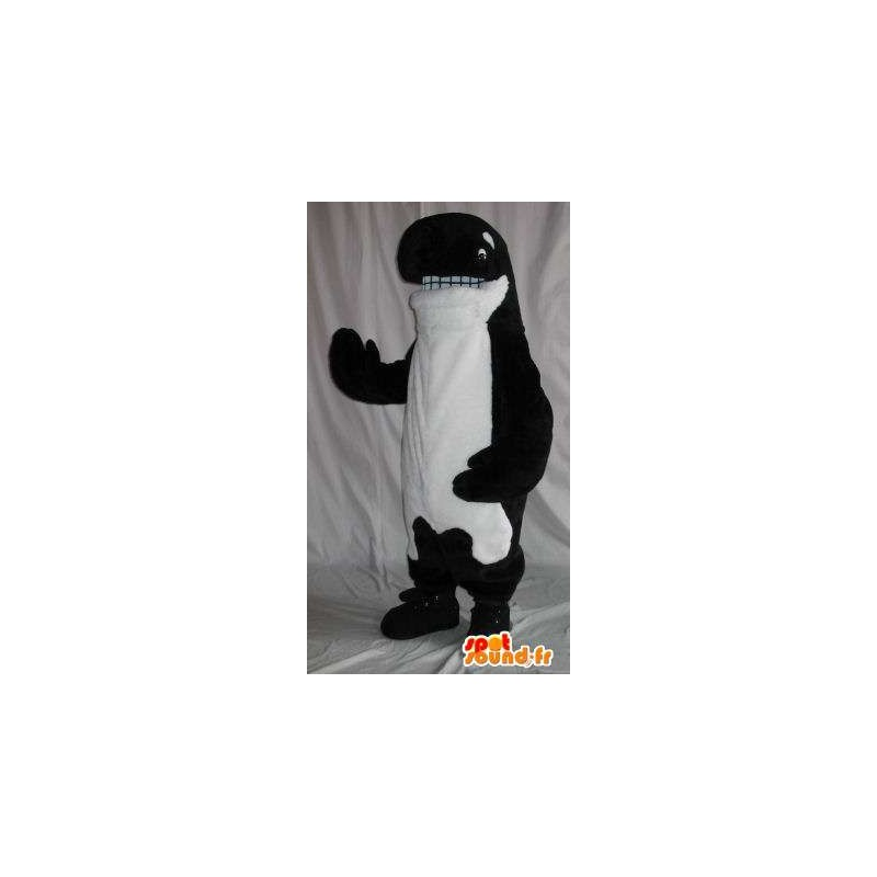 Mascotte représentant un orque en peluche, déguisement de cétacé - MASFR001860 - Mascottes de l'océan