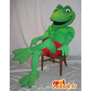 Mascot wat neerkomt op een kikker kostuum Kermit
