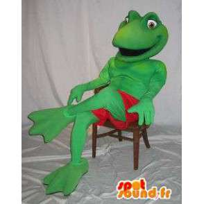 Mascot wat neerkomt op een kikker kostuum Kermit - MASFR001861 - Kikker Mascot