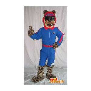 Wolf mascot holding skier, ski costume