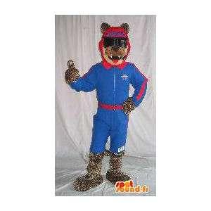 Wolf Mascot skiløper holder ski forkledning - MASFR001862 - Wolf Maskoter