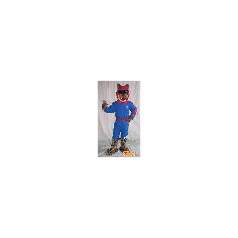 Mascotte van de Wolf skiër bedrijf ski vermomming - MASFR001862 - Wolf Mascottes