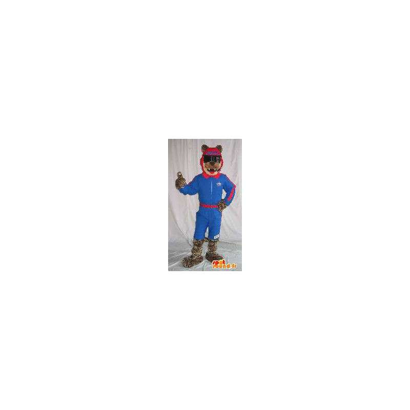 Wolf Mascot hiihtäjä holding ski valepuvussa - MASFR001862 - Wolf Maskotteja