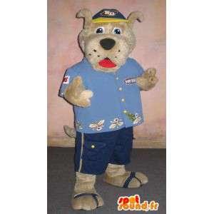 Mascotte de chien en mode touriste, déguisement touristique