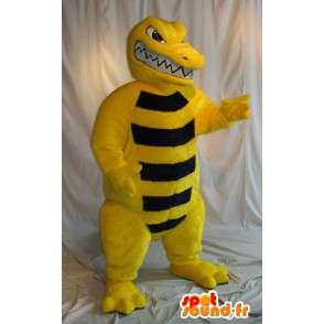 Mascot cocodrilo de color amarillo y negro, traje de reptiles - MASFR001867 - Mascotas cocodrilo