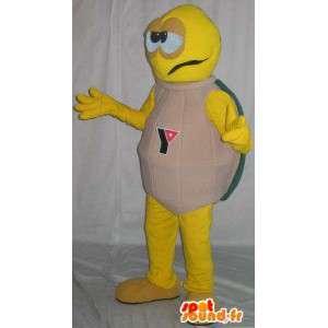 Mascotte de tortue jaune, carapace beige, déguisement tortue