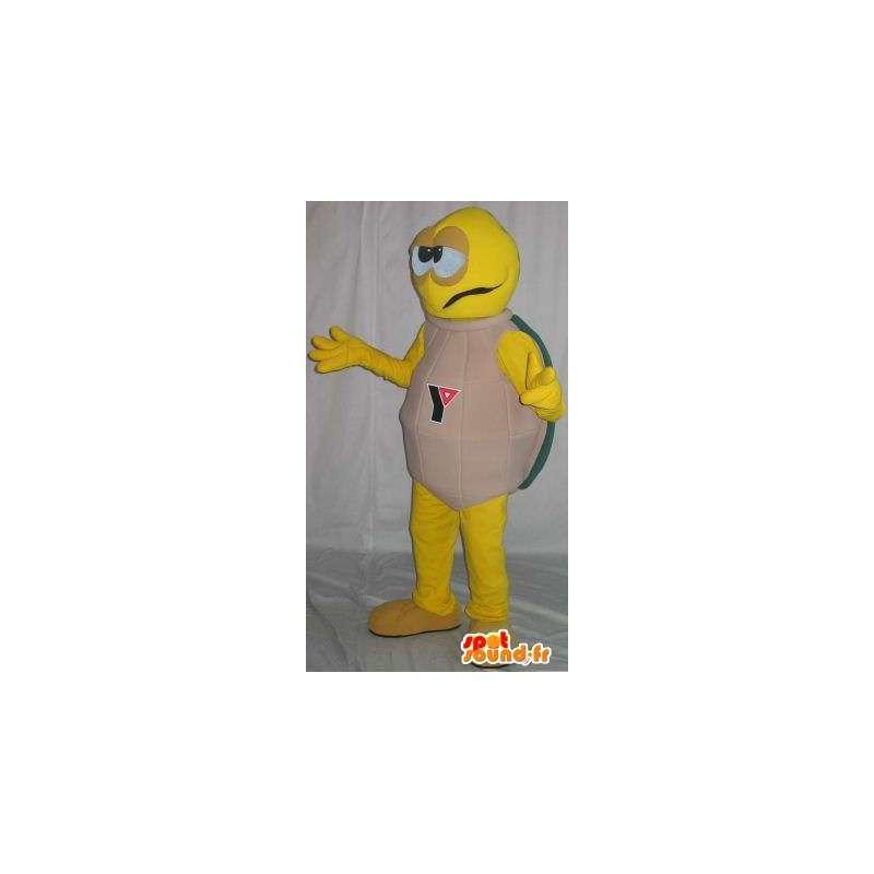 Mascotte de tortue jaune, carapace beige, déguisement tortue - MASFR001868 - Mascottes Tortue