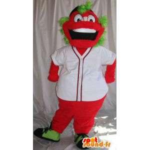 Maskot karakter rød med grønt hår, forklædning i farverig -