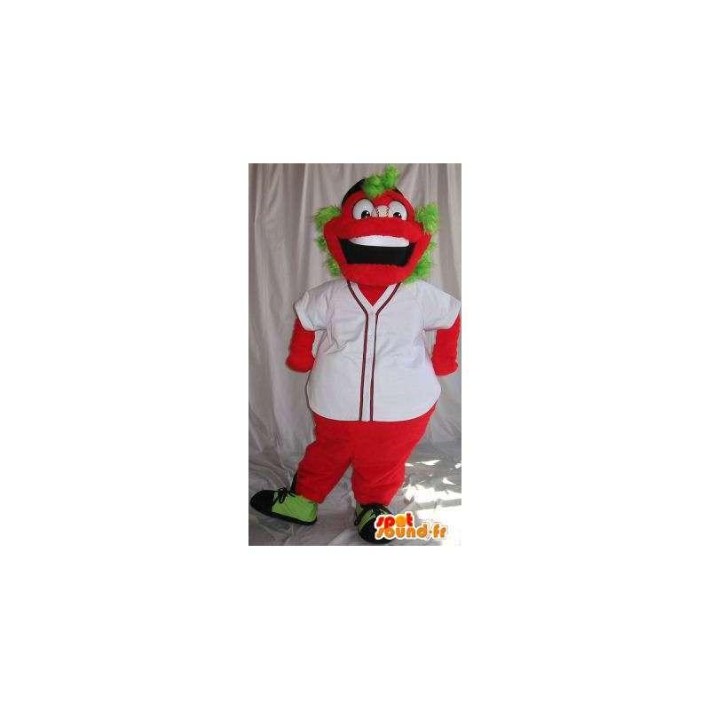 Mascot tegnet rødt, grønt hår, fargerik forkledning - MASFR001870 - Ikke-klassifiserte Mascots