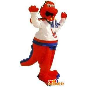 Mascot oranje en blauwe dinosaurus, vriendschappelijke dinosaurus kostuum