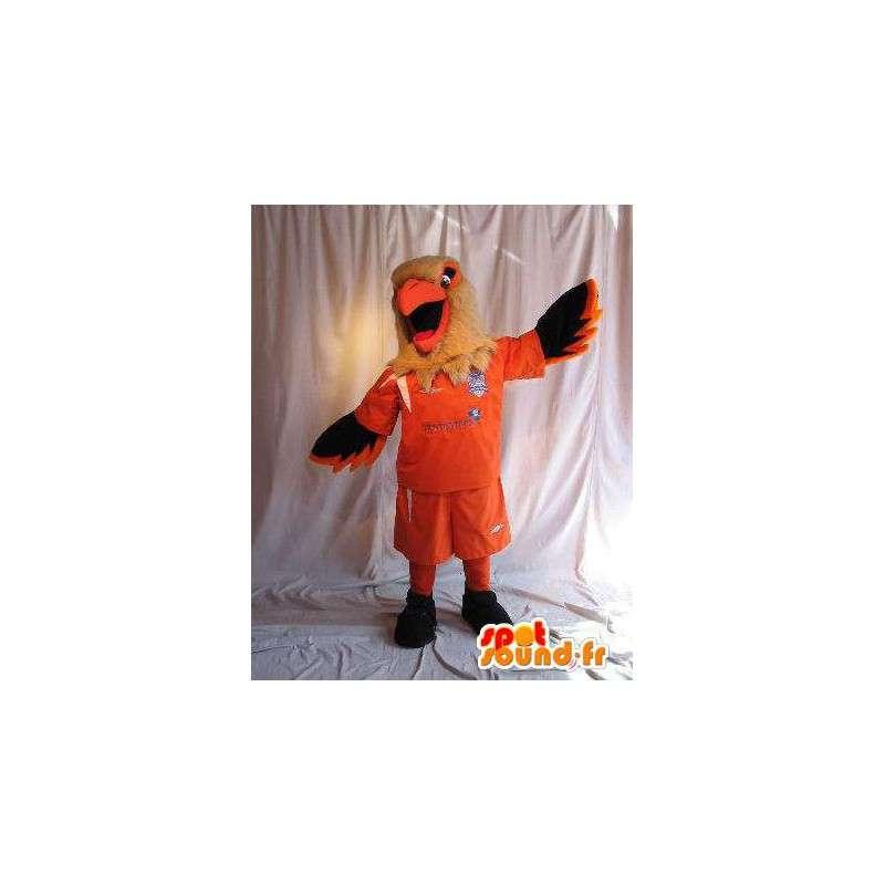 Eagle mascotte houdt voetbal kostuum voetbal supporter - MASFR001874 - Mascot vogels