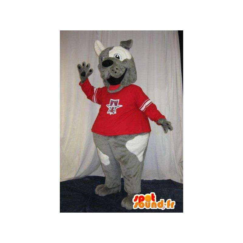Ventilatore cane bicolore Mascot tenuto, orso costume - MASFR001875 - Mascotte cane