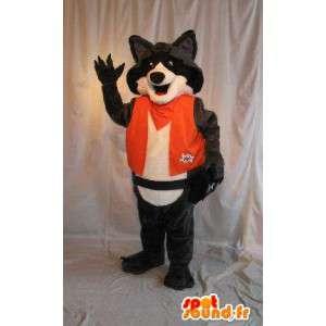 Mascotte de renard en combinaison orange, déguisement renard