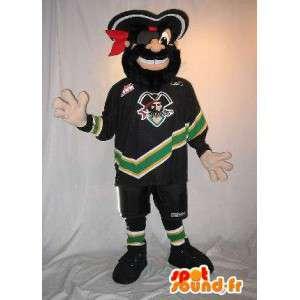 Pirat maskot i fodboldspiller outfit, pirat fodbold forklædning
